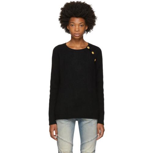 PIERRE BALMAIN Black Angora Buttoned Sweater