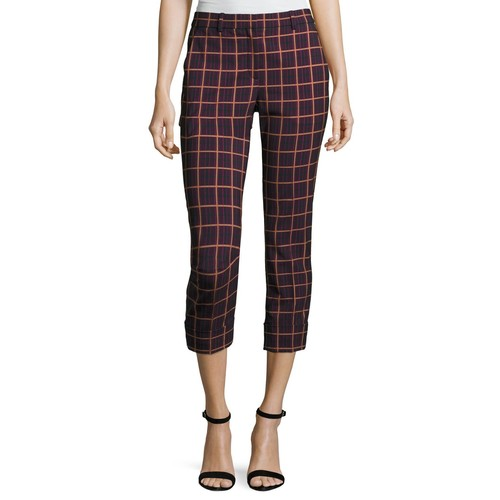 THEORY Crop Cuff York Plaid Pants, Purple