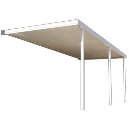 Four Seasons Building Products 16 ft. x 8 ft. White Aluminum Attached Solid Patio Cover with 3 Posts (10 lb. Live Load)