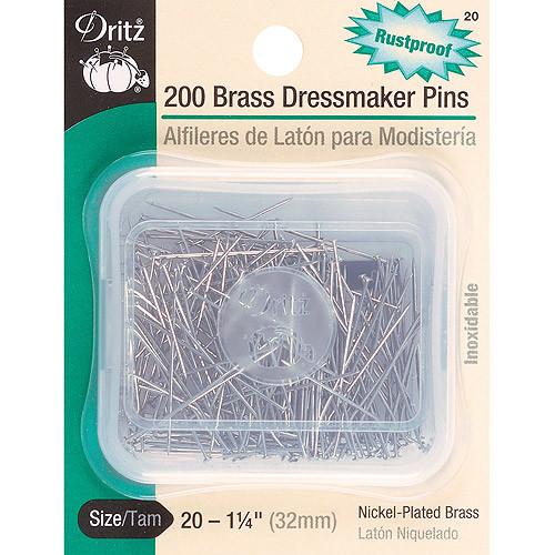 Dritz Brass Dressmaker Pins, Size 20, 200/Pack