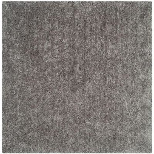 Safavieh Popcorn Shag Silver 6 ft. x 6 ft. Square Area Rug