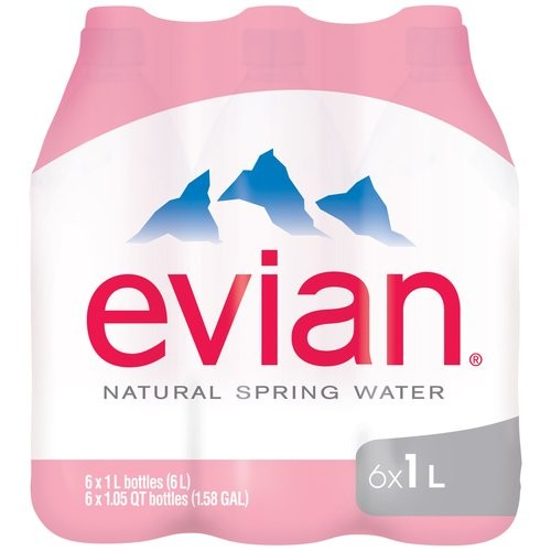 Evian Natural Spring Water, 33.8 Fl Oz, 6 Count