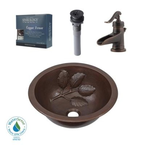 SINKOLOGY Pfister All-In-One Newton Bathroom Sink Design Kit in Aged Copper with Centerset Rustic Bronze Faucet