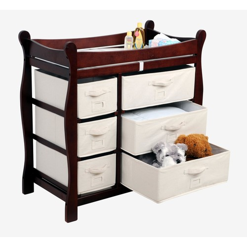 Badger Basket Sleigh Style Changing Table with Six Baskets Natural