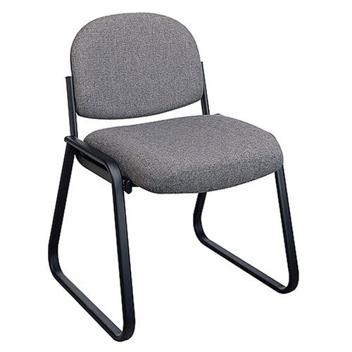Office Star Deluxe Sled Base Fabric Visitors Chair with Designer Plastic Shell Back, Charcoal [Charcoal, No Arms]
