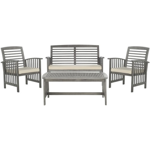 Safavieh Rocklin Grey Wash Acacia Wood 4-piece Outdoor Furniture Set