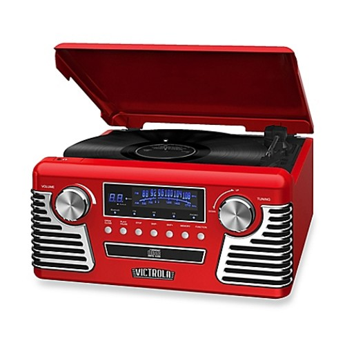 Victrola Retro Record Player Stereo with Bluetooth and USB Digital Encoding in Red
