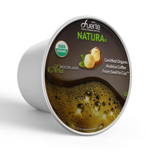 FUERTEAria, K-Cup Compatible Pod, Mocha Java, USDA Organic Arabica Coffee, 18/PK. (KCC-8166)