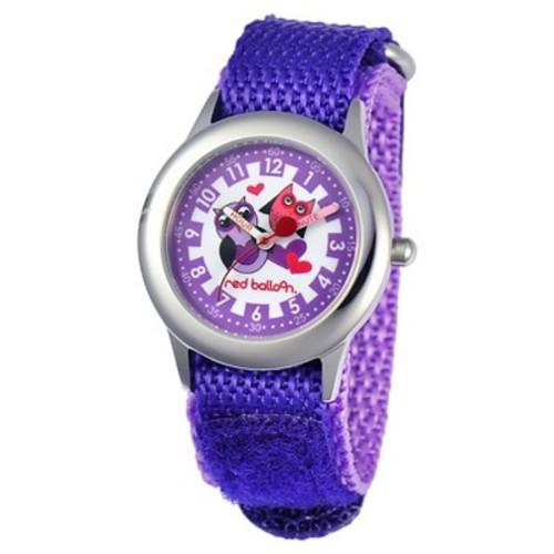 Girls' Red Balloon Love Owl Stainless Steel Time Teacher Watch - Purple