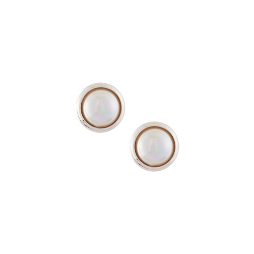 Majorica 8mm Mabe Pearl Button Earrings