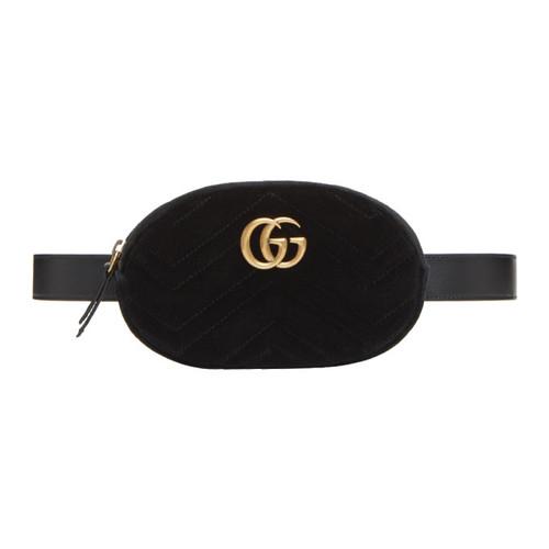 GUCCI Black Velvet Gg Marmont Matelassé Belt Bag