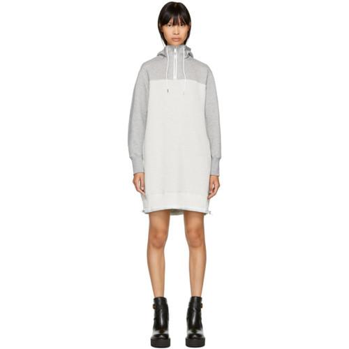 SACAI Grey & Off-White Sponge Hoodie Dress