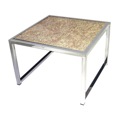 Titan Lighting Hand Carved Natural and Stainless Steel Coffee Table
