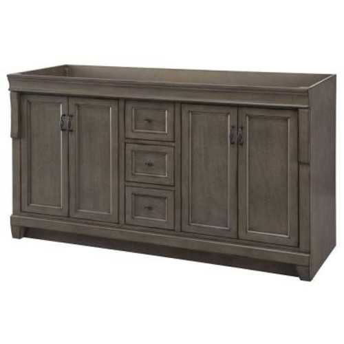 Home Decorators Collection Naples 60 in. W Bath Vanity Cabinet Only in Distressed Grey for Double Bowl