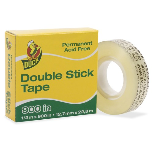 Duck Brand Permanent Double Stick Tape Refill Roll, 1/2-Inch x 900 Inches, Clear, Single Roll (1081698)
