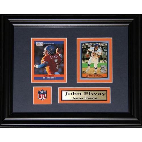 Midway Memorabilia John Elway Denver Broncos 2 Card Frame