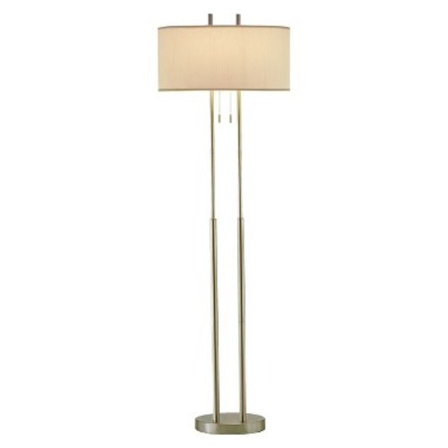 Adesso Duet Floor Lamp - Silver/Ivory