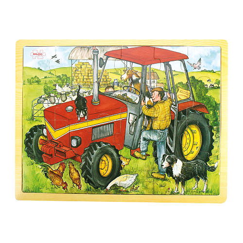 Bigjigs Toys Wooden Tractor Tray Puzzle 24 Piece Set