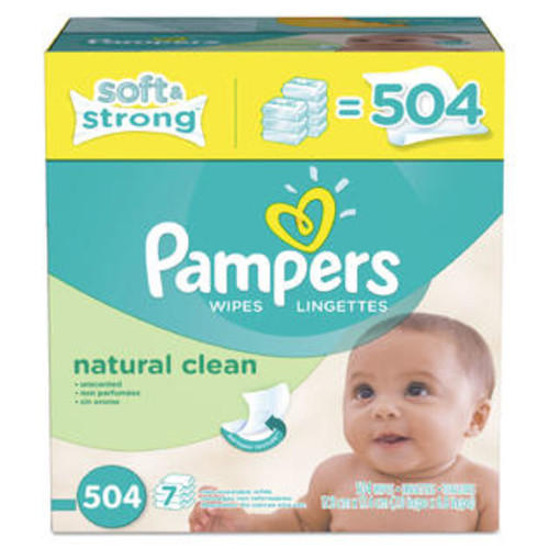 Pampers Natural Clean Baby Wipes Unscented White Cotton 504/Carton