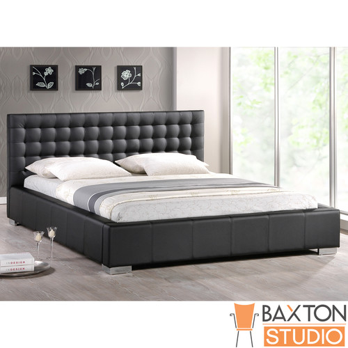 Baxton Studio Madison Black Modern Bed with Upholstered Headboard (Queen Size)