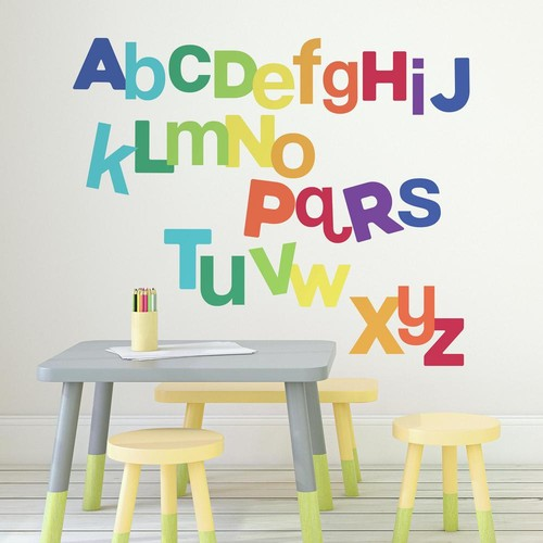 RoomMates 5 in. x 19 in. Multicolored Alphabet 27-Piece Peel and Stick Wall Decals