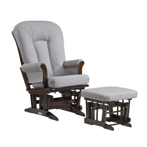 Dutailier Sleigh Glider and Ottoman Combo Set - Coffee Finish