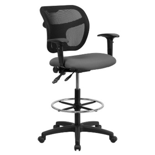 Mid-Back Mesh Drafting Chair with Gray Fabric Seat and Height Adjustable Arms - Flash Furniture