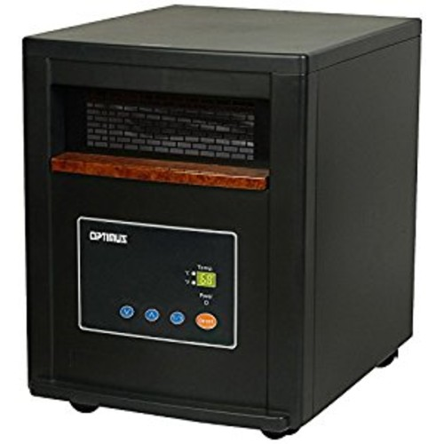 Optimus H-8012 Infrared Quartz Heater with Remote and LED Display, Black