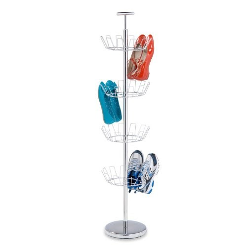 Honey-Can-Do SHO-01483 Shoe Tree with Spinning Handle, Chrome, 4-Tier: Home & Kitchen