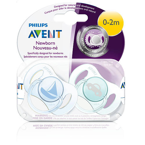 Philips AVENT BPA Free 0 - 2 Months Freeflow Newborn Pacifier 2 Pack - Blue
