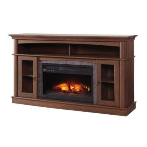 Home Decorators Collection Glynnis 46 in. Media Console Infrared Modern Electric Fireplace in Medium Ash Finish