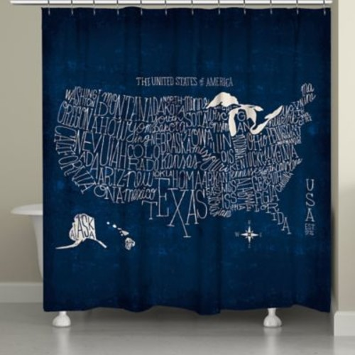 Laural Home US Map Blueprint Shower Curtain in Blue