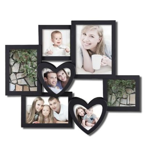 itude Run Beane 7 Opening Plastic Heart Shaped Photo Collage Wall Hanging Picture Frame