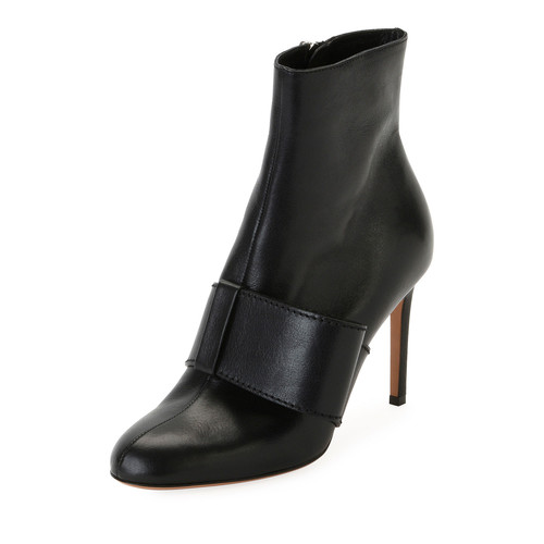 VALENTINO Bow-Trim Leather Ankle Boot, Black