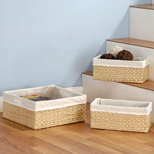 3 Piece Seagrass Storage Basket Set
