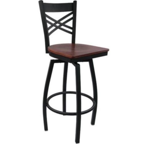 Advantage Cross Back Metal Swivel Bar Stool - Mahogany Wood Seat (SBXB-BFMW-20)