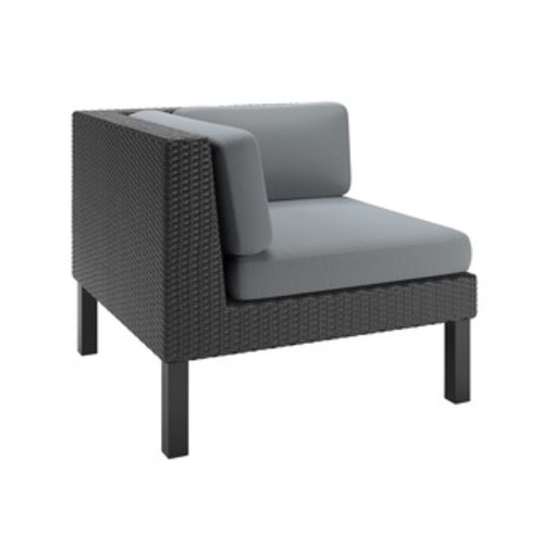 CorLiving Oakland Patio Middle Seat in Textured Black Weave