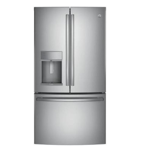 GE Profile 35.75 in. W 22.1 cu. ft. French Door Refrigerator with Hands Free Autofill in Stainless Steel, Counter Depth