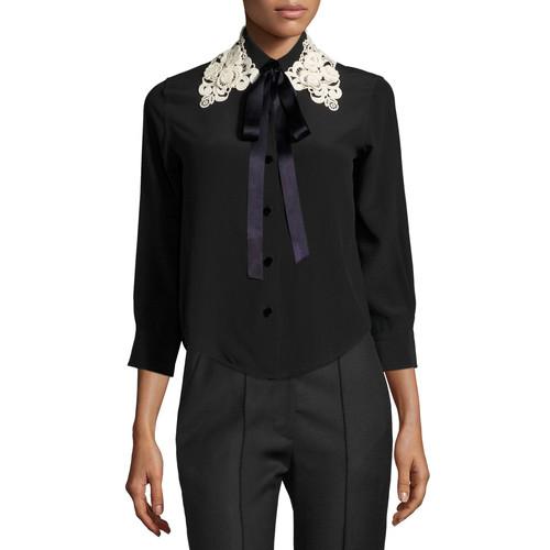 MARC JACOBS Silk Crepe Blouse W/Lace Tie Collar, Black