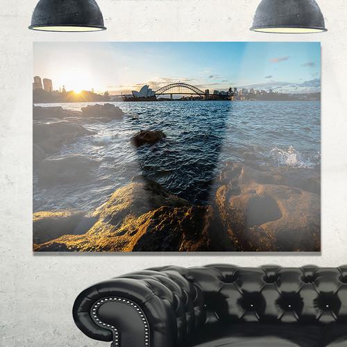 Sunset at Opera House Sydney - Large Seashore Glossy Metal Wall Art