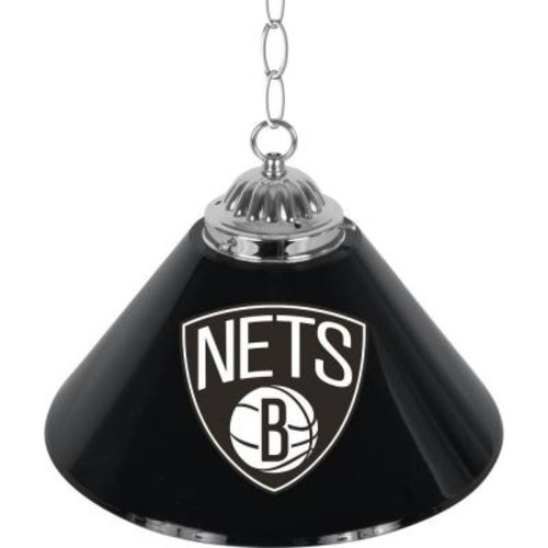 Trademark Brooklyn Nets 14 in. 1-Light Single Shade Stainless Steel Hanging Lamp