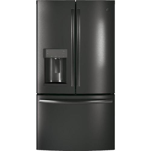 GE 36 in. W 22.2 cu. ft. Counter Depth French Door Refrigerator in Black Stainless Steel, Fingerprint Resistant