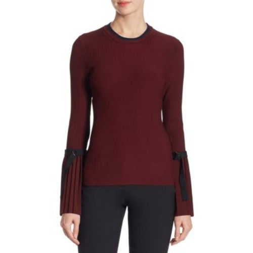 3.1 PHILLIP LIM Pleated Cuff Ribbed Pullover