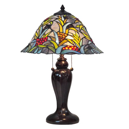 Springdale Lighting Benita 22.5 in. Antique Bronze Table Lamp with Tiffany Shade