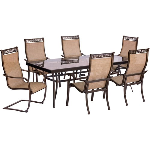 Hanover Monaco 7-Piece Aluminum Outdoor Dining Set with Rectangular Glass-Top Table and 2 Contoured Sling Spring Chairs