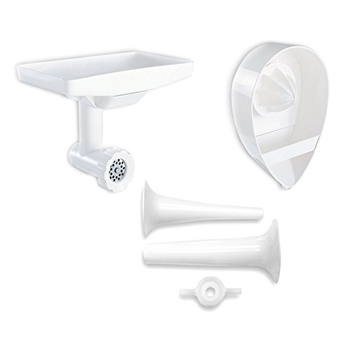 KitchenAid KN12AP Stand Mixer Attachment Pack 3 with Food Grinder, Citrus Juicer and Sausage Stuffer [White]