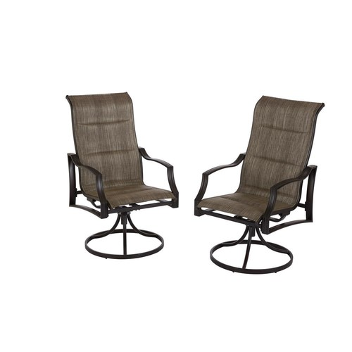 Hampton Bay Statesville Pewter Swivel Aluminum Sling Outdoor Dining Chair (2-Pack)