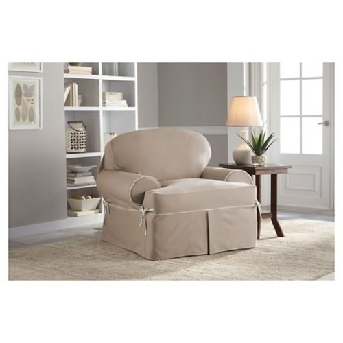 Taupe Brown Relaxed Fit Twill Furniture Chair Slipcover - Serta