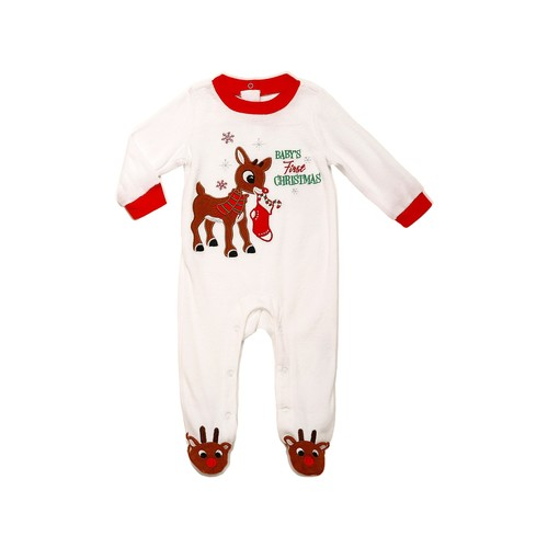 Velour Baby's First Christmas Rudolph Footie (Baby Boys)