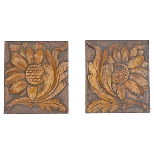 Antique Hand-Carved Floral Panels, Pair